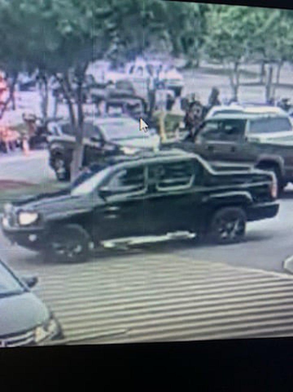 The suspect left the area in a black Honda Ridgeline truck.