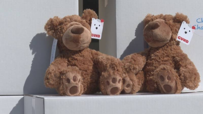 Two donated teddy bears patiently wait to be given to a child in need.