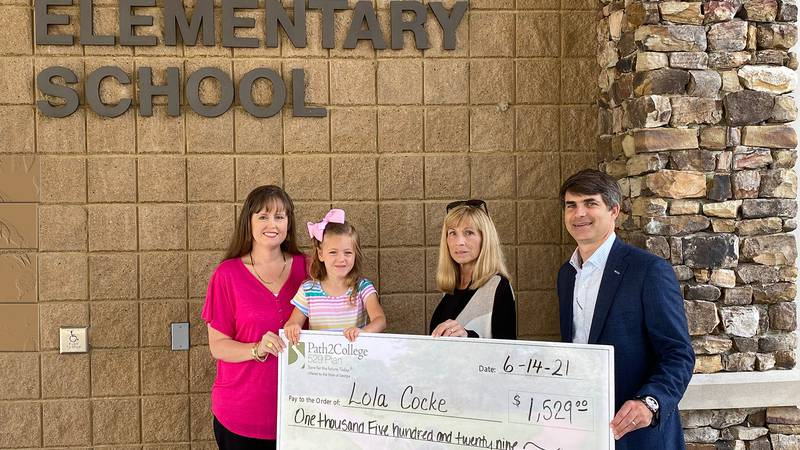 """Lola Cocke was awarded $1,529 for her """"Path2College 529 Plan"""" as one of the statewide winners..."""