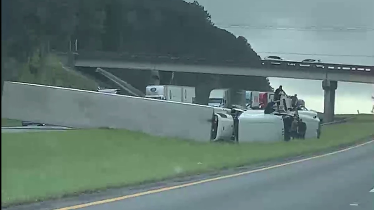 A tractor trailer flipped on I-10 West near the Centerville Road overpass, according to the FHP traffic map. (Photo: Viewer James Dodson)