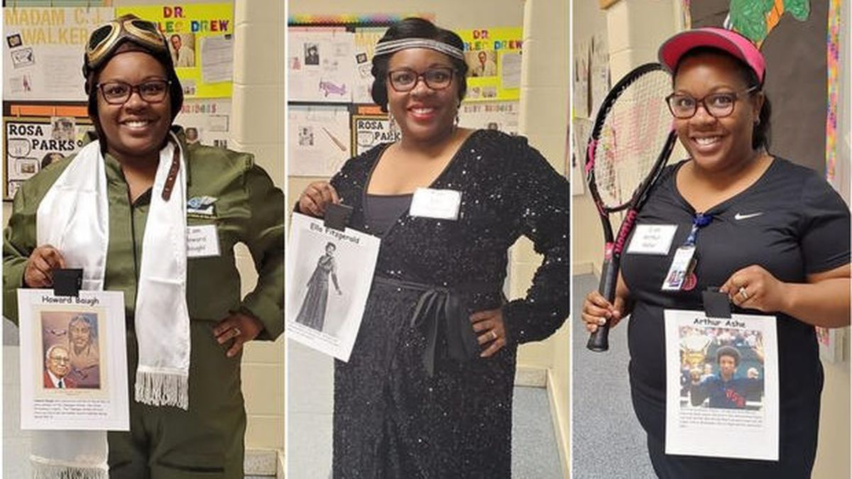 First grade teacher LaToya Smith McGriff dressed up like a different historical figure for each...