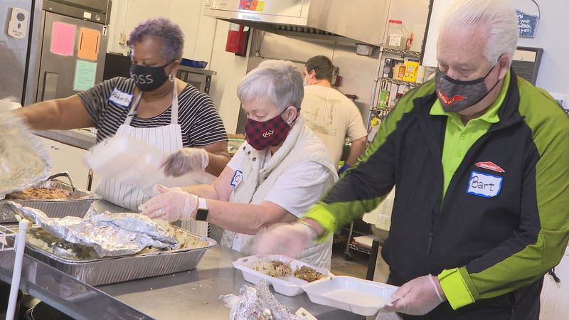 The church typically serves about 300 people during its annual Thanksgiving week lunch. But...