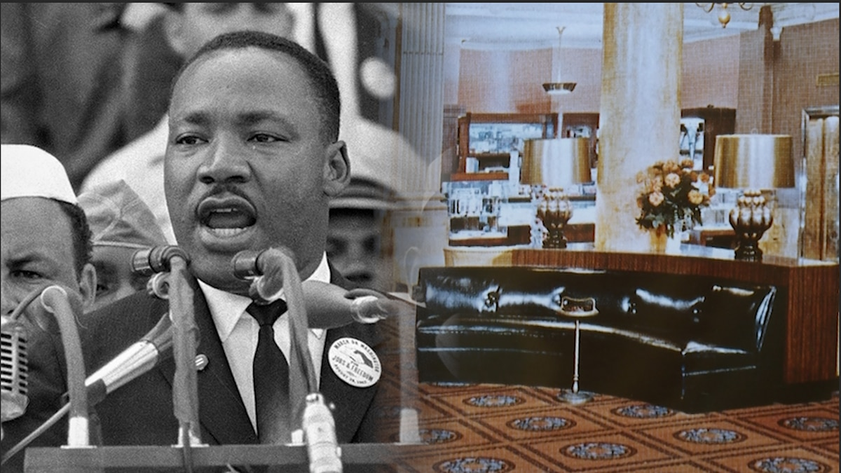 Civil rights activist Martin Luther King Jr. sat on black, leather couches in the lobby of the...