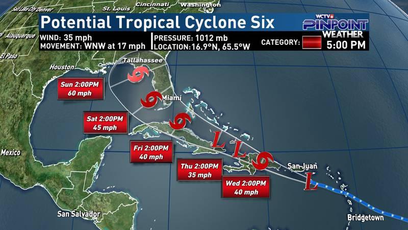 Potential Tropical Cycline Six - 5 p.m. Tuesday, Aug. 10 Advisory