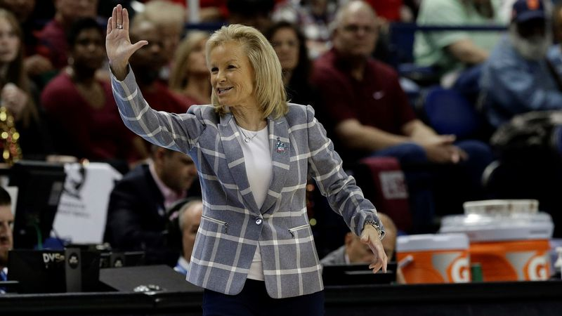 Florida State head coach Sue Semrau reacts during the first half of an NCAA college basketball...
