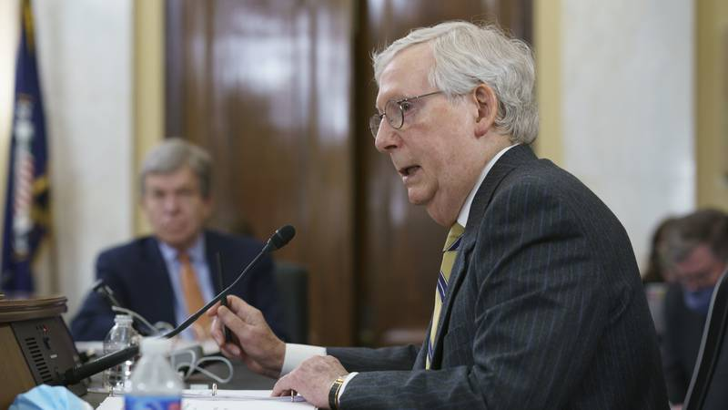 FILE - Senate Minority Leader Mitch McConnell, R-Ky., speaks as the Senate Rules Committee...