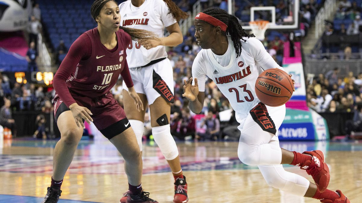 Louisville's Jazmine Jones (23) drives against Florida State's Kourtney Weber (10) during the second half of an NCAA college basketball game at the Atlantic Coast Conference women's tournament in Greensboro, N.C., Saturday, March 7, 2020. (AP Photo/Ben McKeown)