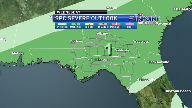 The Storm Prediction Center's severe weather outlook as of late Wednesday morning.
