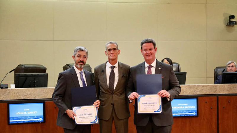 Tallahassee Mayor John Dailey and City of Tallahassee Manager Reese Goad were recognized as...