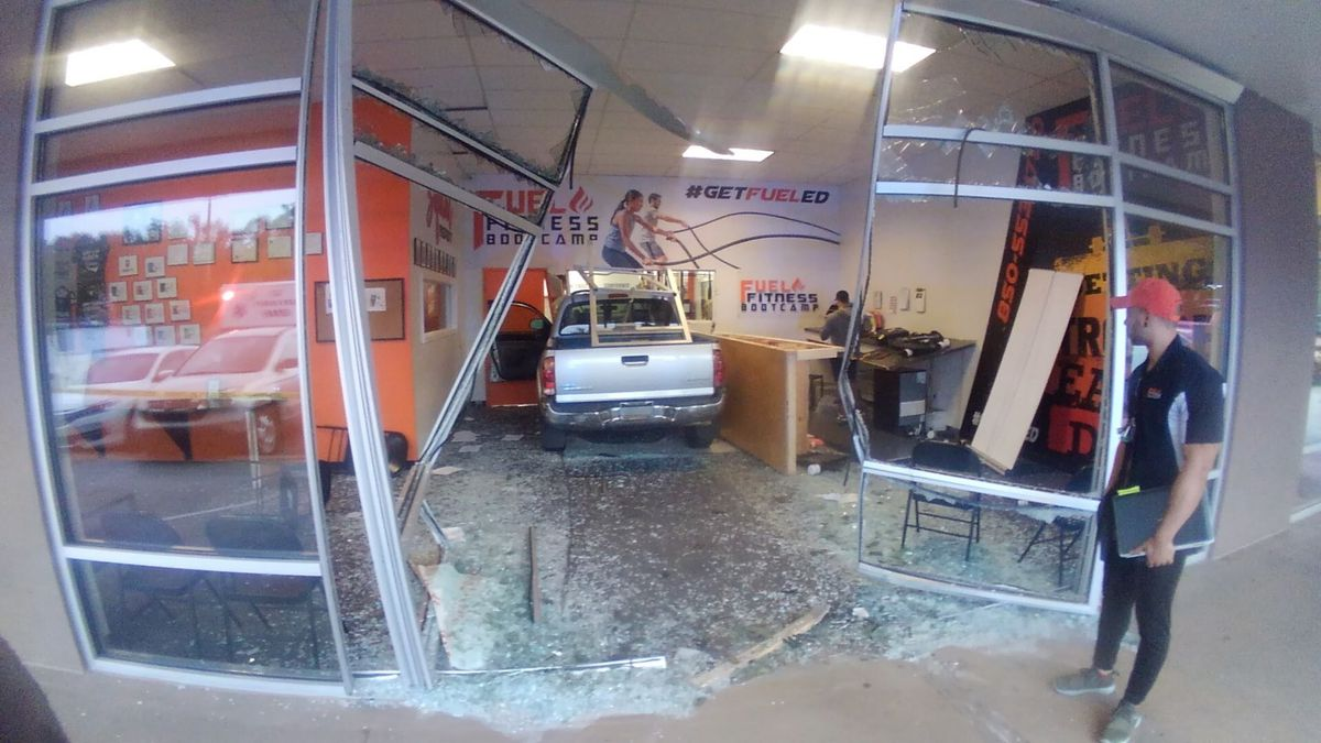 A viewer sent us this photo of the truck inside of Fuel Fitness Bootcamp before it was removed.