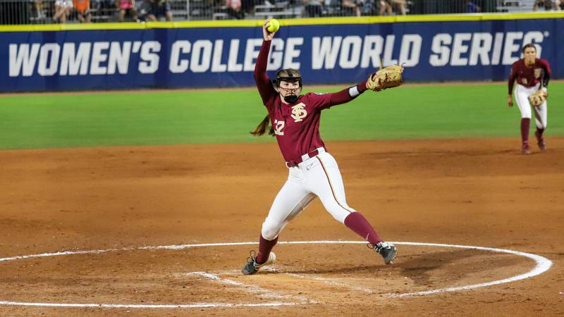 Kathryn Sandercock throws a pitch during the 2021 Women's College World Series.