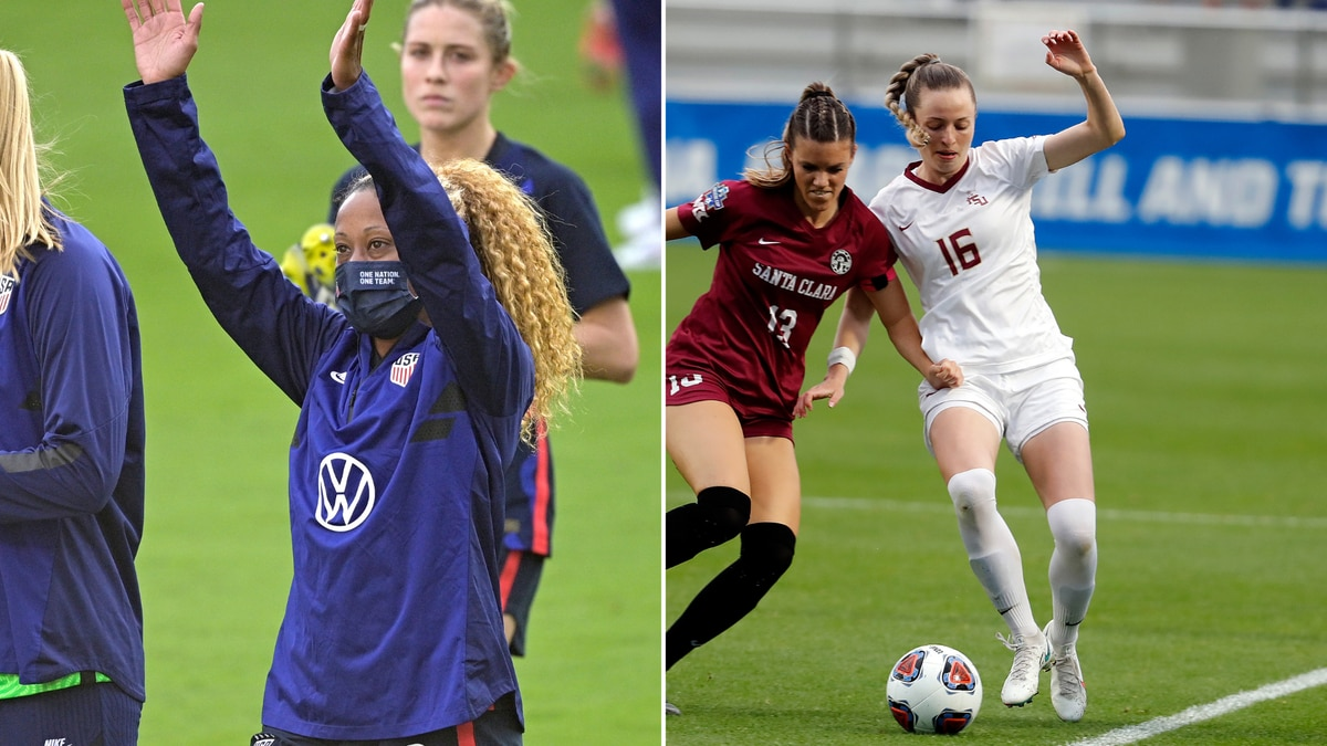 Former Florida State forward Casey Krueger and current Seminole defender Gabby Carle are headed...