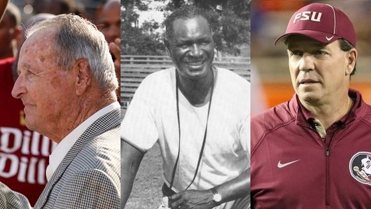 Bobby Bowden, Jake Gaither and Jimbo Fisher have all been named on ESPN's list of the 150 greatest head football coaches in the 150-year history of college football. (Courtesy: Noles247, Florida A&M Athletics)