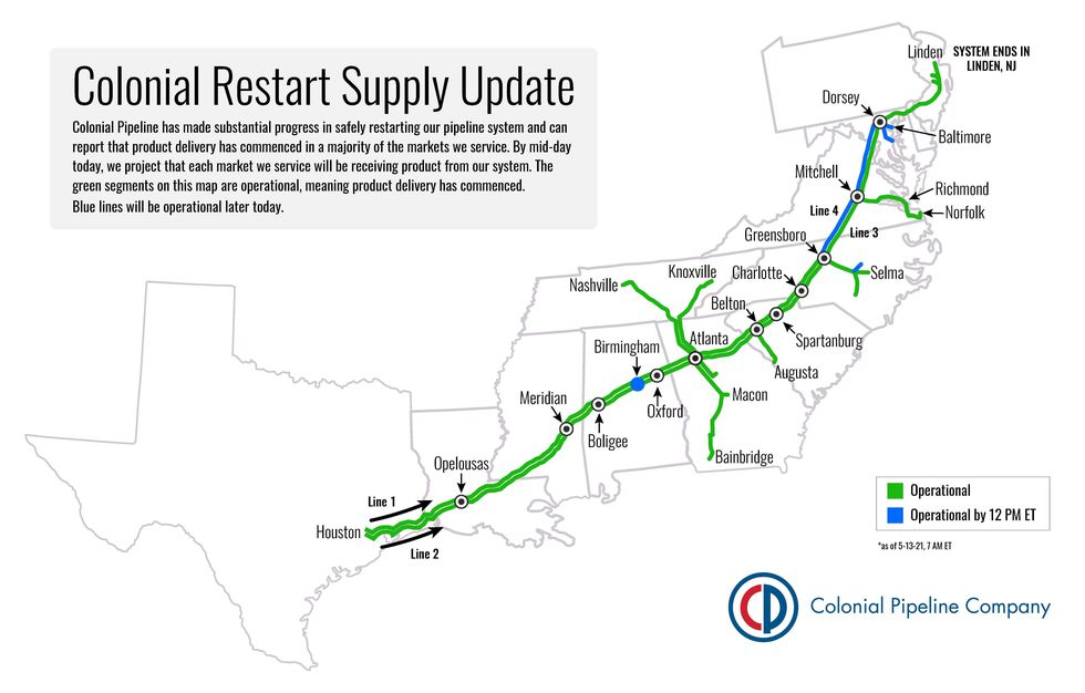 """Colonial Pipeline says as of 9 a.m. Thursday, it has """"made substantial progress"""" in restarting..."""