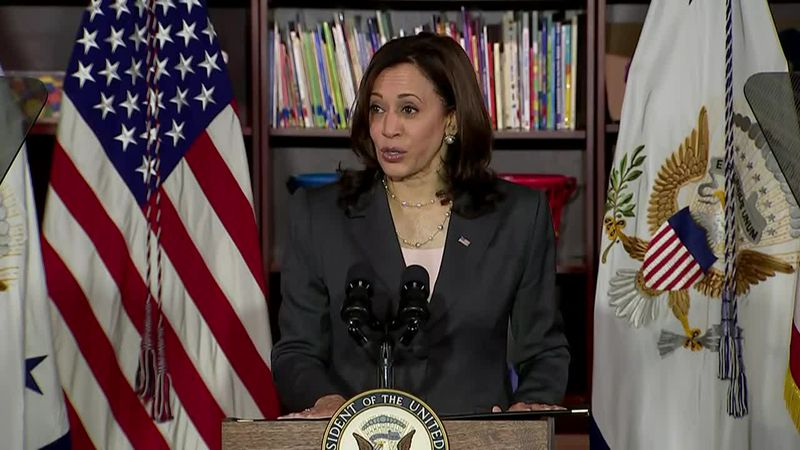 Vice President Kamala Harris visits a classroom in Washington, D.C., and delivers remarks on...
