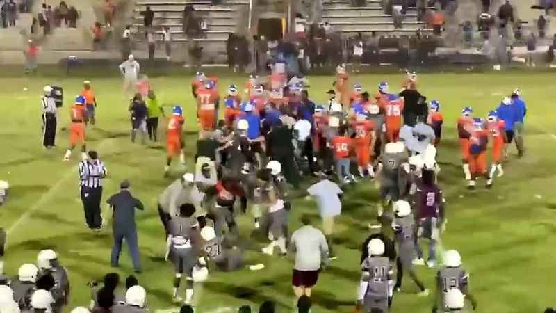 Bench-clearing brawl in Madison and Taylor County football game caught on camera.
