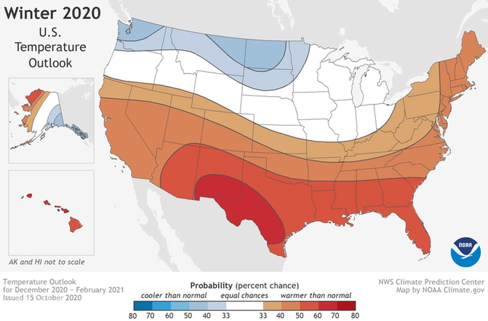 NOAA's 2020-21 Winter Outlook showing a chance of above-normal temperatures in the South.