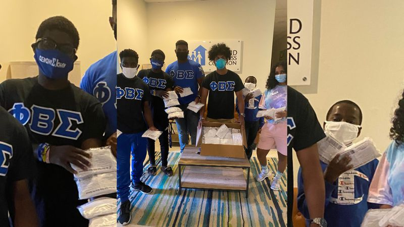 Mu Epsilon Chapter of Phi Beta Sigma Fraternity, Inc giving out masks to the Tallahassee...