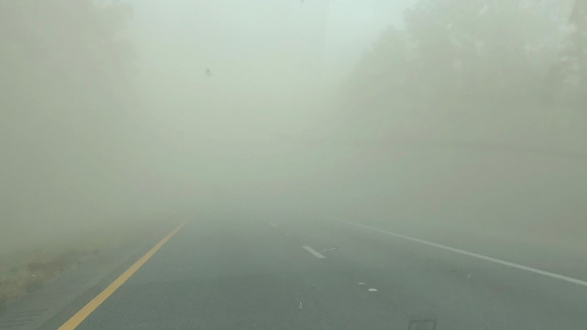 The Florida Highway Patrol will be shutting down I-10 in Madison County from mile marker 262 to mile marker 275 in Suwannee County due to zero visibility caused by dust from nearby fields. (Photo: Viewer Sarah Burke)