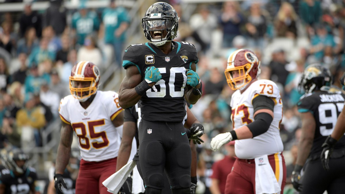 Jacksonville Jaguars outside linebacker Telvin Smith (50) reacts after making a tackle during...