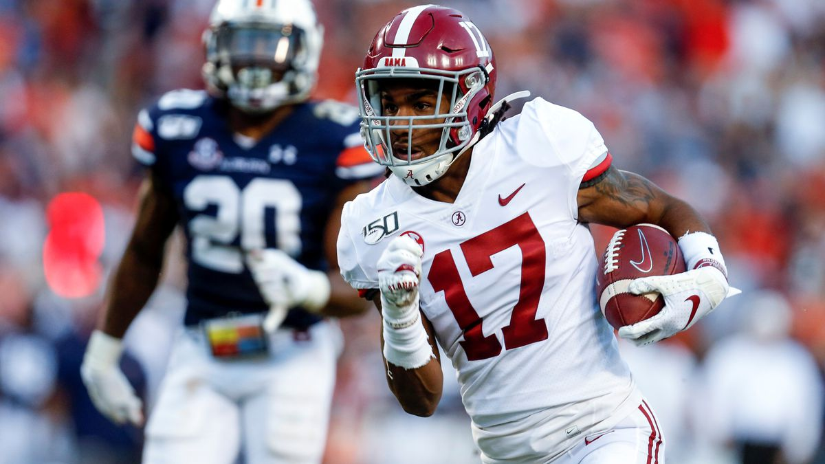FILE - In this Saturday, Nov. 30, 2019 file photo, Alabama wide receiver Jaylen Waddle (17)...