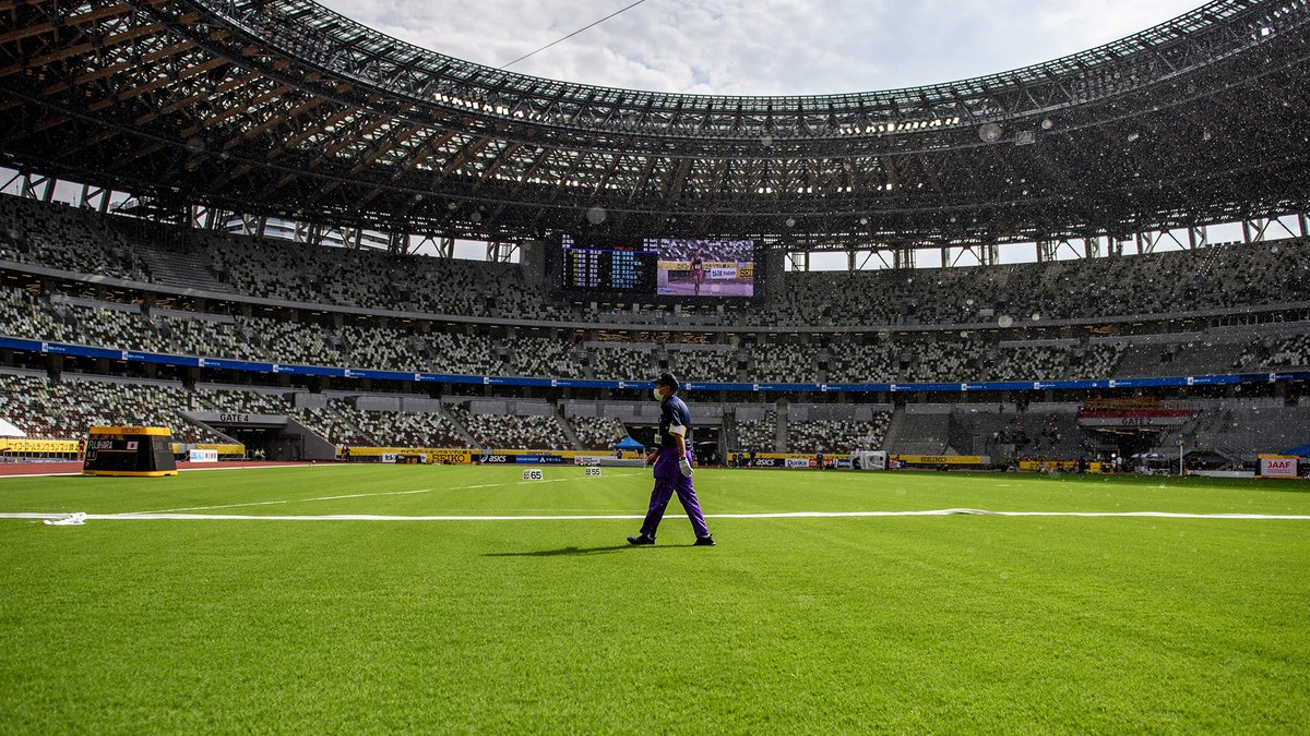An official walks across the infield during the Golden Grand Prix 2020 athletics event at the...