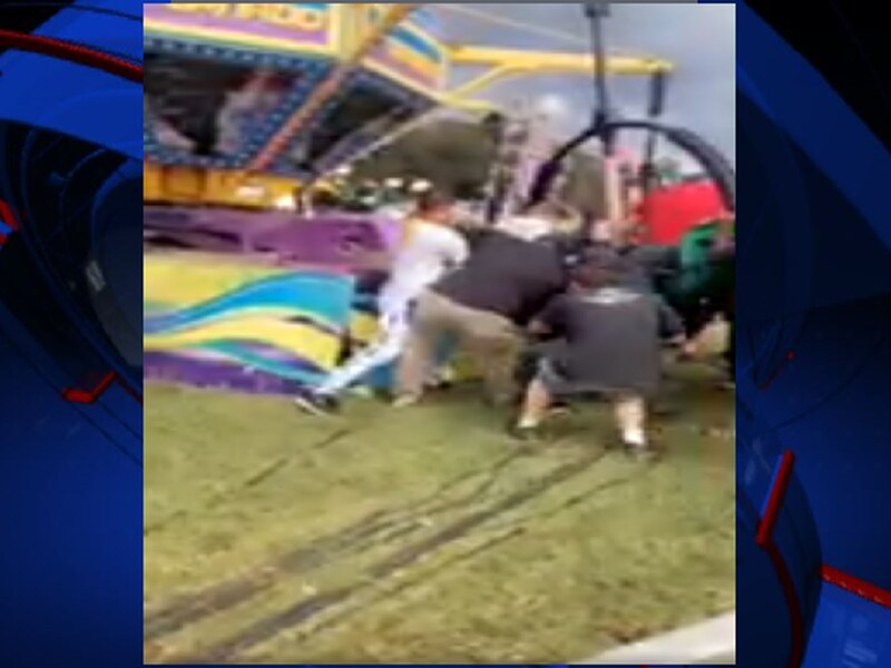 Viewer video of the Deep South Fair shows brief panic following a ride malfunction.