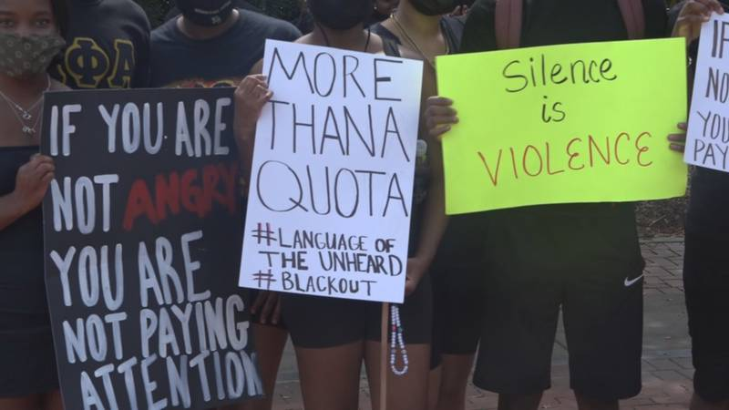 Students attend the BSU's march, asking for change on FSU's campus.