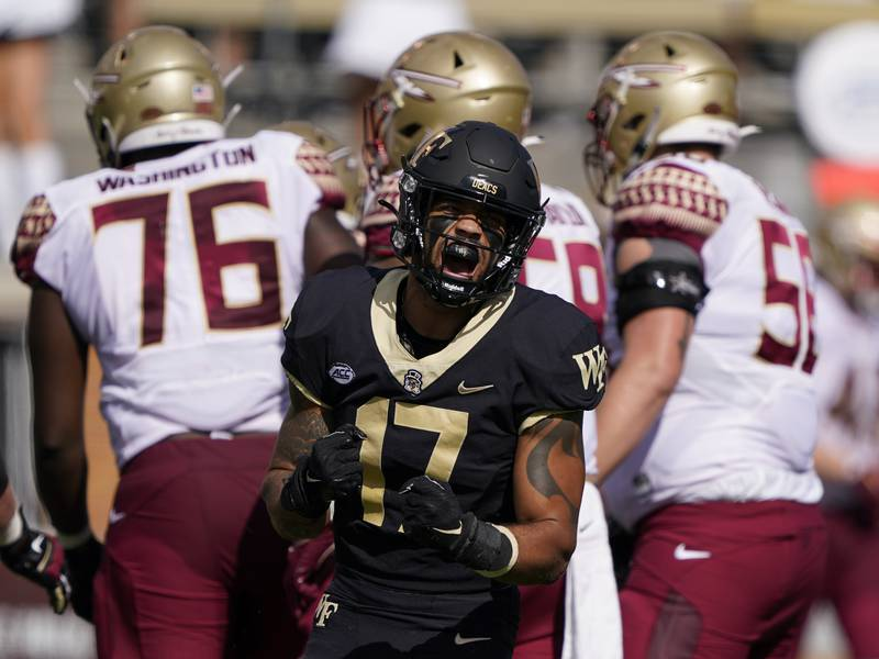 Wake Forest defensive back Traveon Redd celebrates after a tackle against Florida State during...