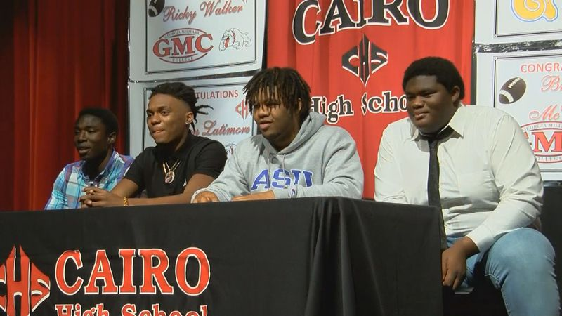 Four Cairo Syrupmakers signed their national letters of intent on Wednesday to play football at...