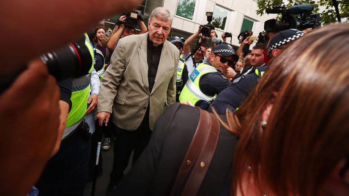 Cardinal George Pell leaves County Court on Mon., Feb. 26, 2019, in Melbourne, Australia.