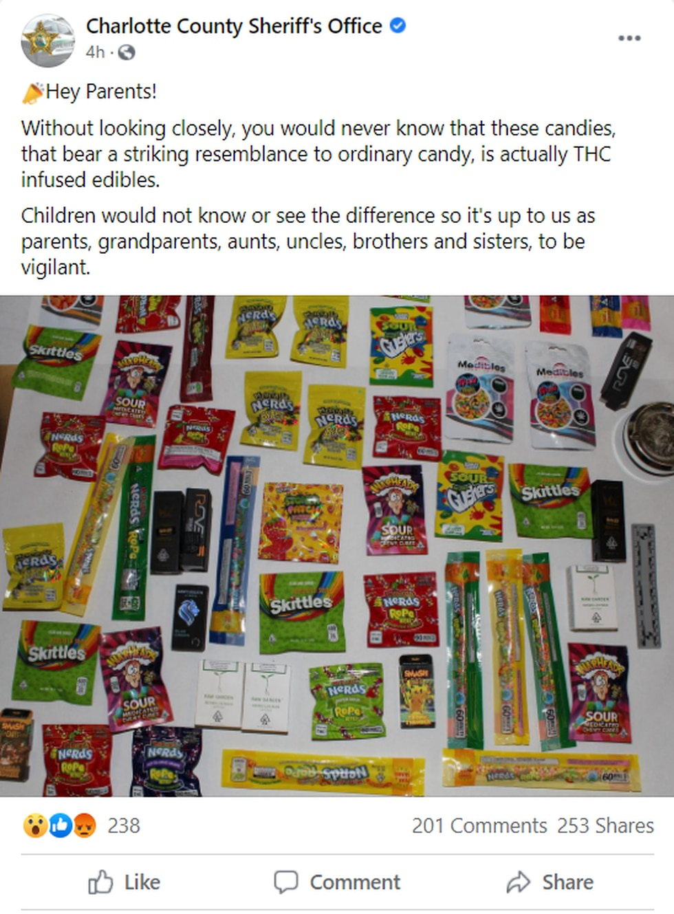 Deputies in Florida are warning of drug-laced candy that looks like Skittles, Nerds or WarHeads.