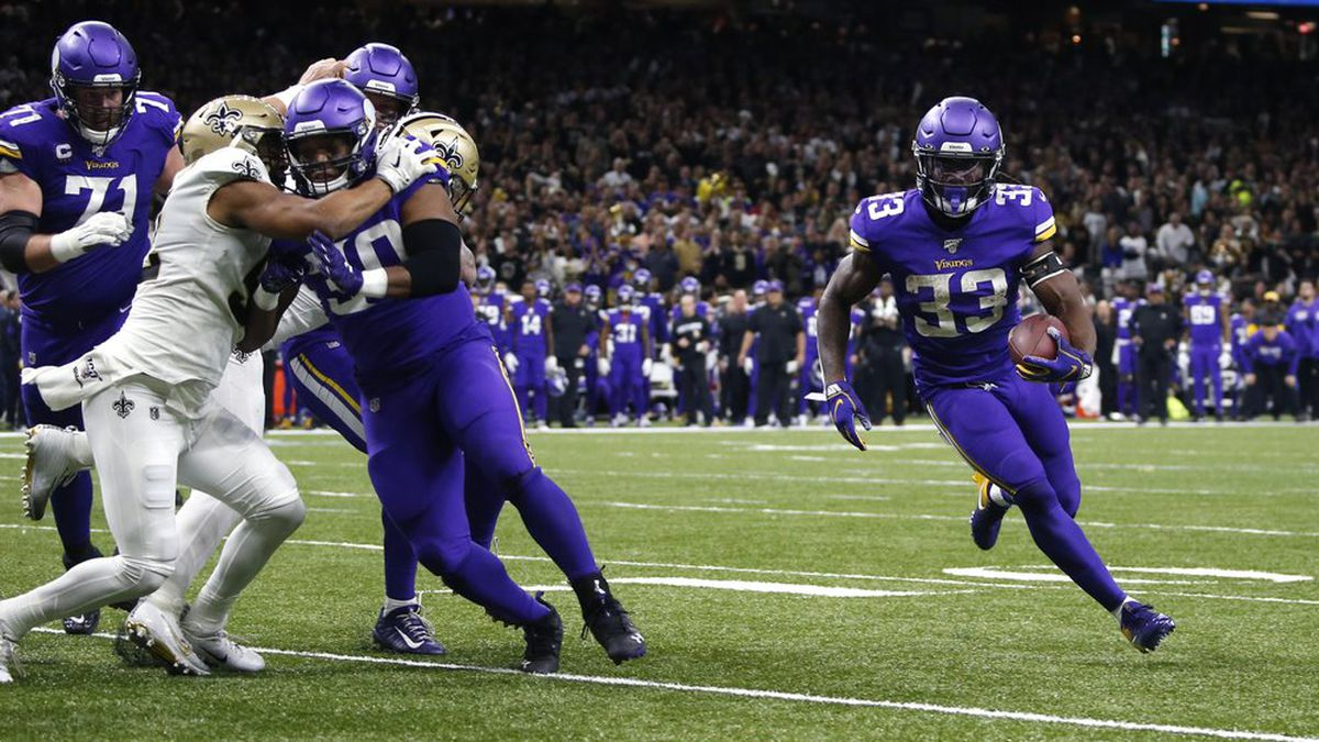 Minnesota Vikings running back Dalvin Cook (33) carries near the goal line in the first half of...