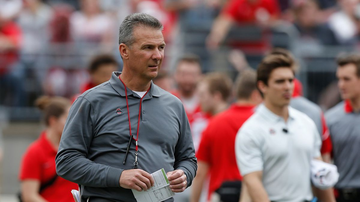 Ohio State head coach Urban Meyer watches their NCAA college spring football game Saturday,...