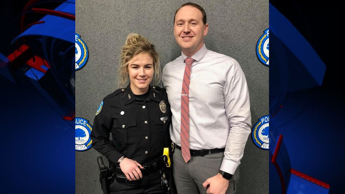 The surveillance video shows Detective Chase McKeown and Officer Nicole McKeown springing into...
