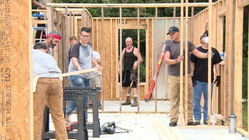 Several Moody airmen help build a home for a local Veteran.