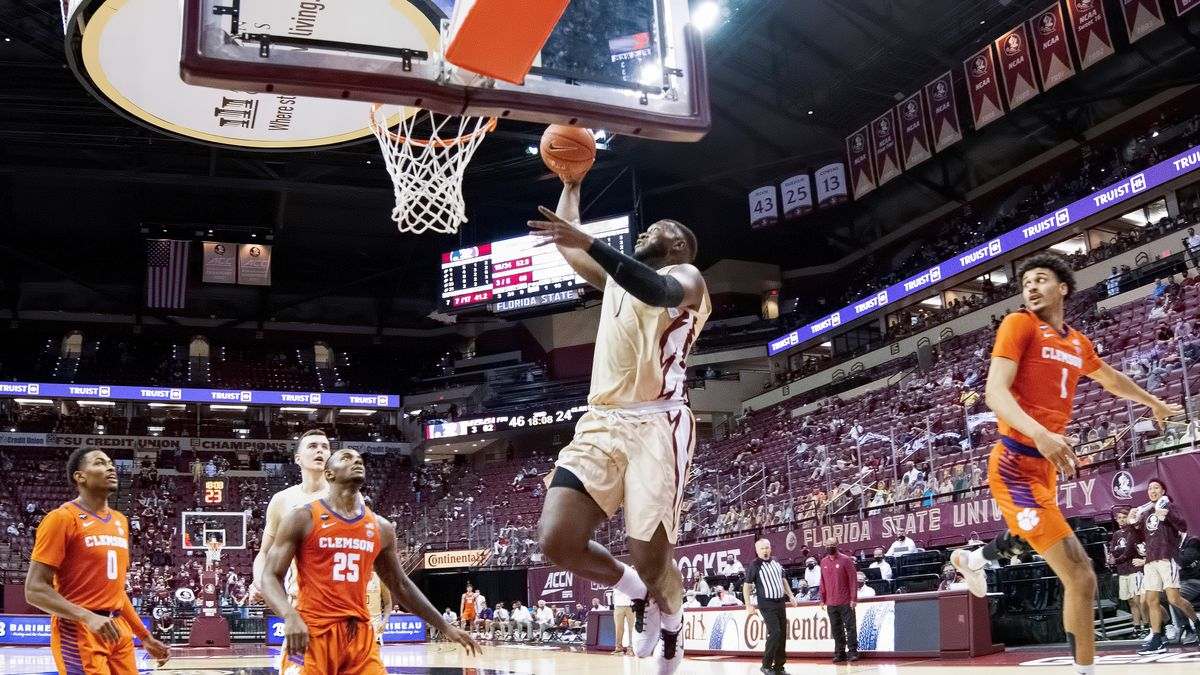 RaiQuan Gray goes up for a dunk as FSU plays Clemson at the Donald L. Tucker Center.