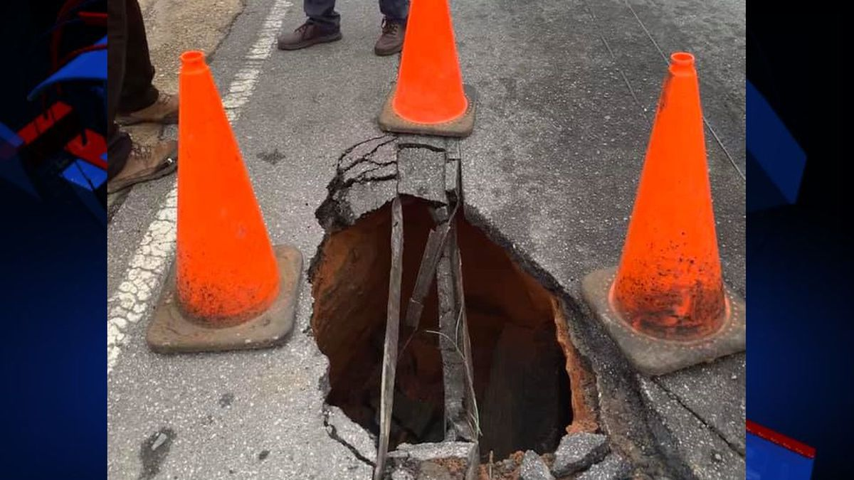 A sinkhole opened in Bainbridge on College Street in front of the Family Bank, according to Bainbridge Public Safety. (Photo: BPS)