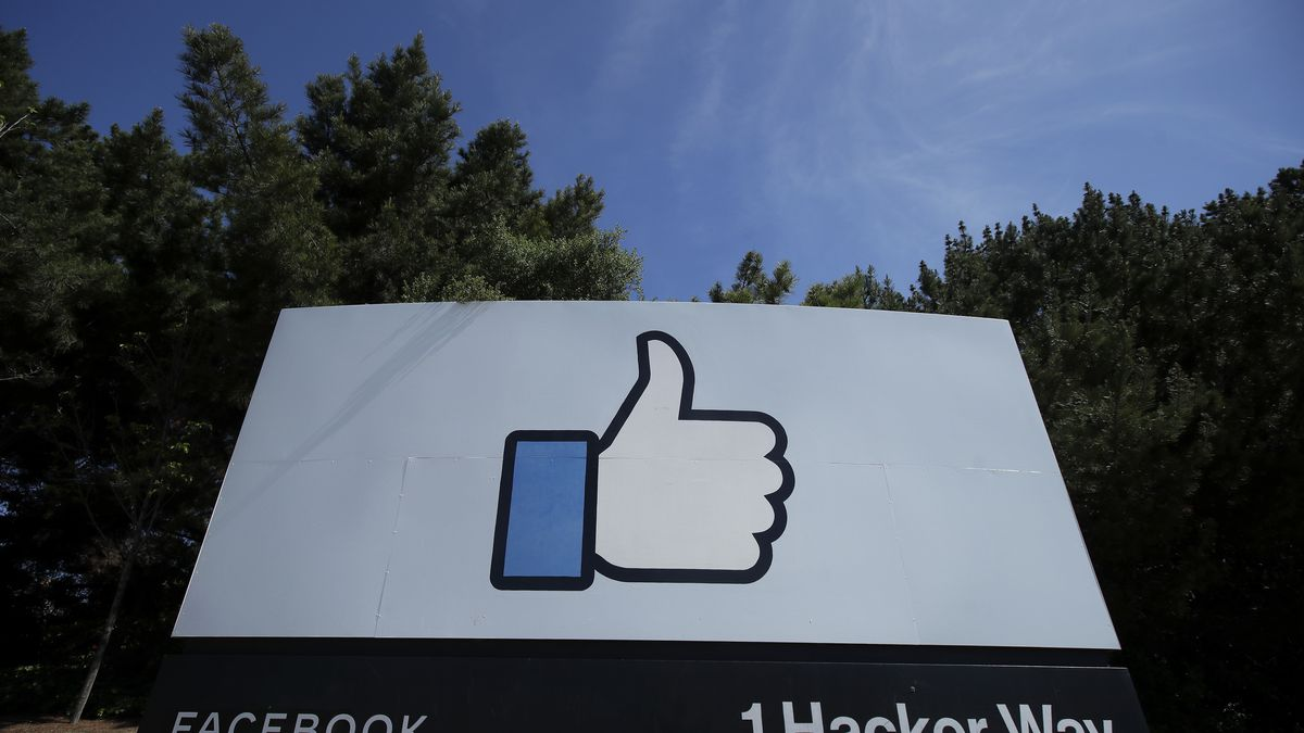 The thumbs up Like logo is shown on a sign at Facebook headquarters in Menlo Park, Calif.,...