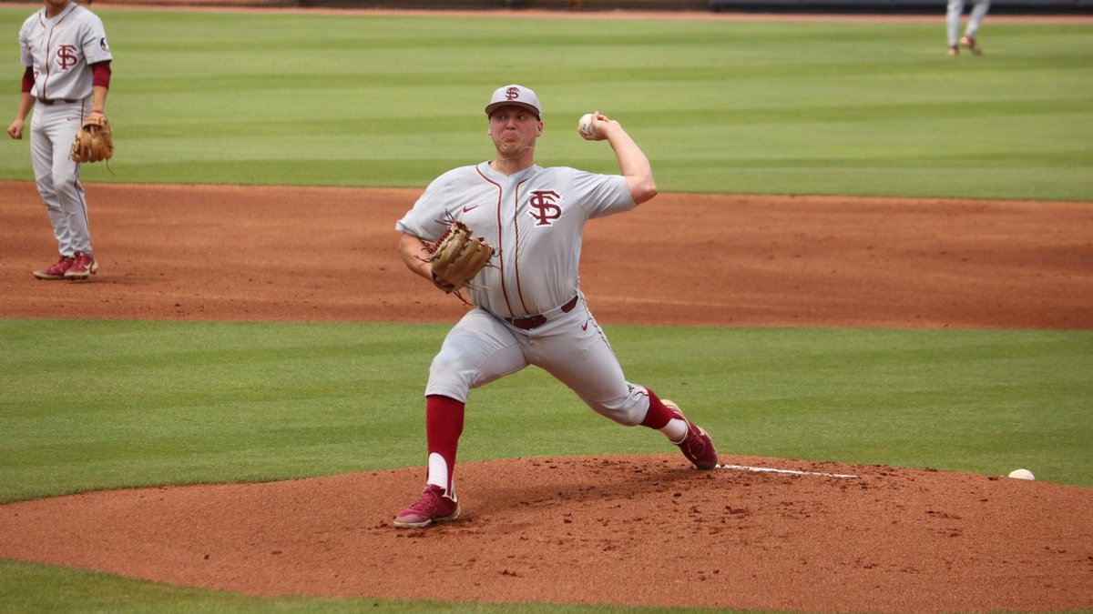 Florida State left-handed pitcher Parker Messick throws a pitch against Southern Miss in the...