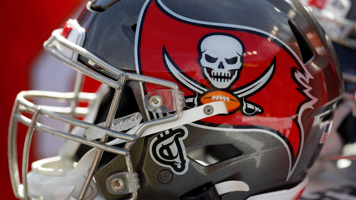 Tampa Bay Buccaneers helmet during the first half of an NFL football game against the Atlanta Falcons Sunday, Dec. 29, 2019, in Tampa, Fla. (AP Photo/Mark LoMoglio)