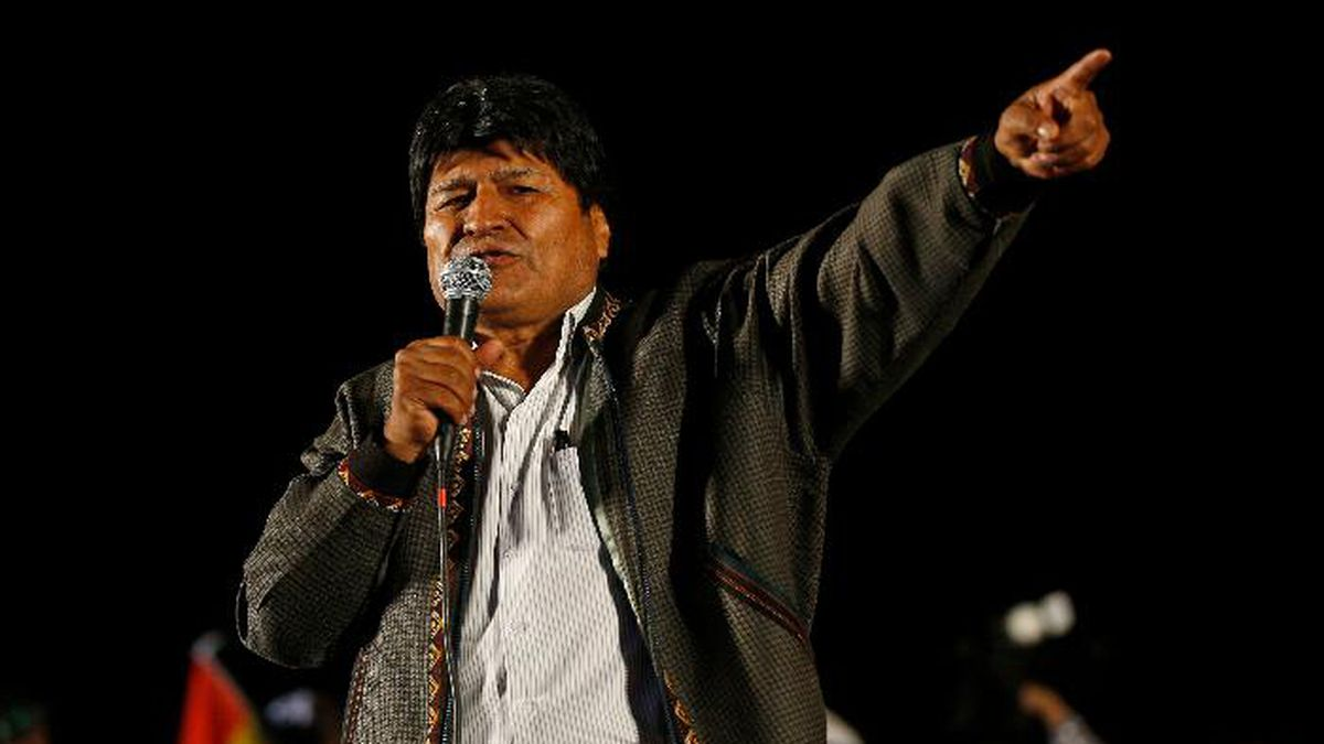 Bolivia's President Evo Morales speaks to supporters at an event celebrating his reelection in El Alto, Bolivia, Monday, Oct. 28, 2019. Morales' backers and foes are blocking streets and highways across the country in a dispute over official election results that show the leftist leader winning reelection without a runoff. (AP Photo/Juan Karita)