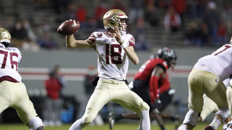 Florida State quarterback Tate Rodemaker (18) prepares to pass during the first half of N.C....