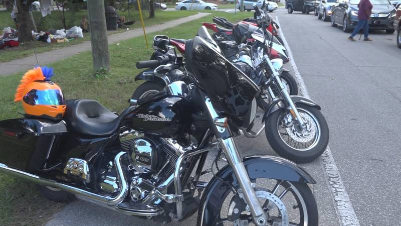 Full Force Throttle, a biking group in Tallahassee, held their fifth annual food giveaway for...