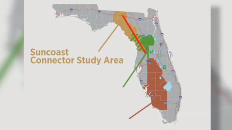 Map shows possible expansion to the Suncoast Parkway moving to Madison County.