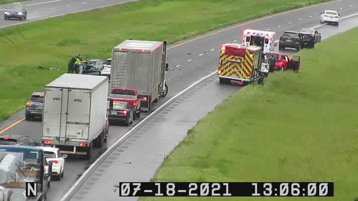 Lanes of traffic are blocked on Interstate-10 Eastbound just before mile marker 260 in Madison...