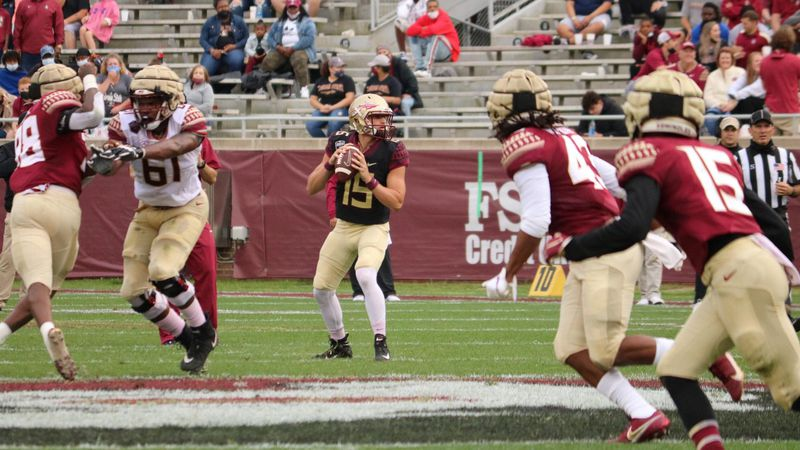 Action shot from FSU's 2021 Garnet and Gold spring game.