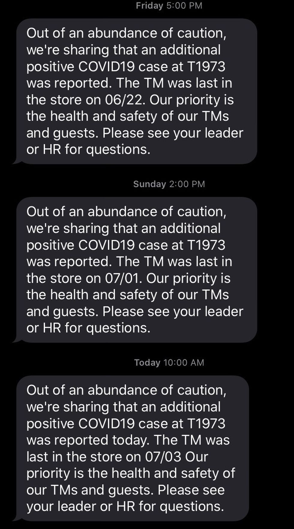 An anonymous Target employee at the Tallahassee North store shared texts from store management with WCTV regarding texts sent out to employees about positive COVID-19 members at the location.