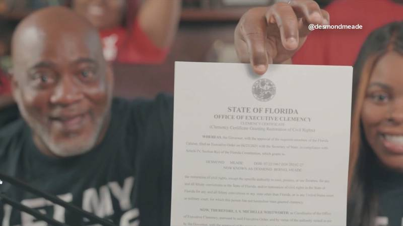 Activist Desmond Meade shares the official documents proving certain rights restored on a...