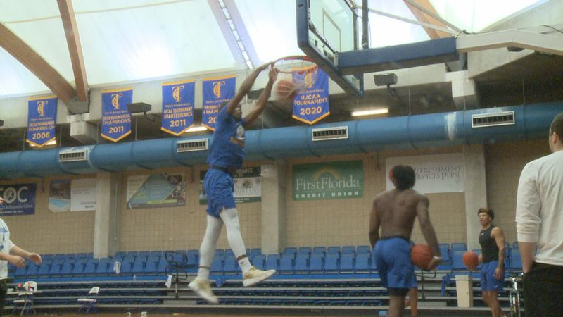 The Tallahassee Community College Eagles basketball team practices ahead of their 2021 season.